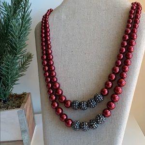 Jewelry - Metallic Burgundy & Charcoal Beaded Necklace